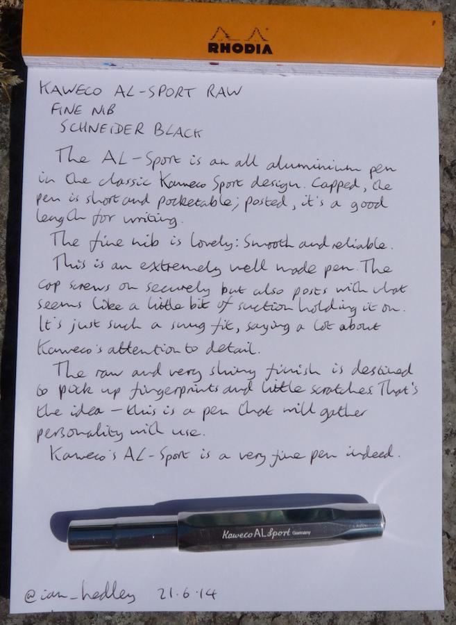 Kaweco AL-Sport fountain pen handwritten review