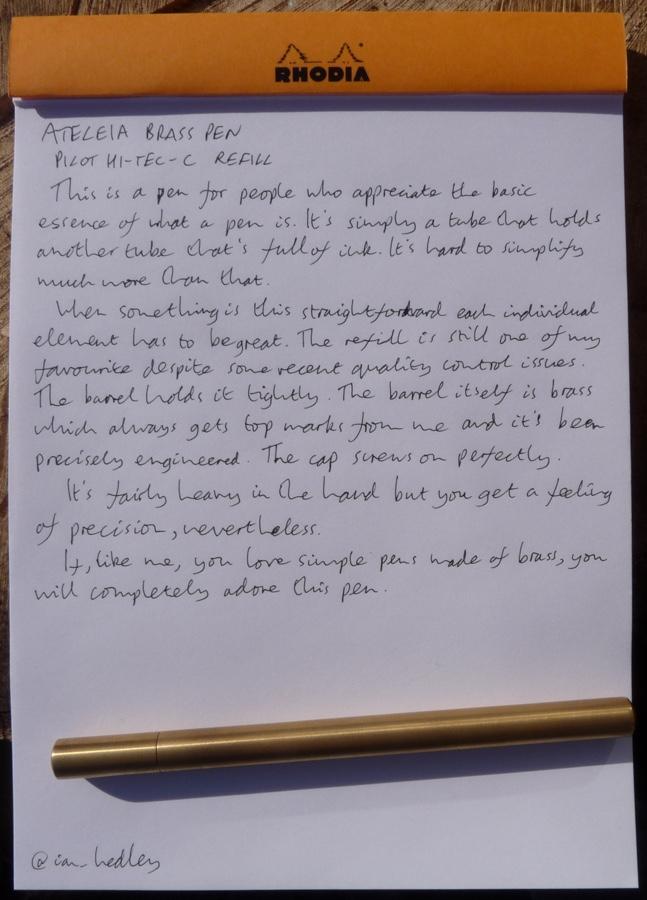 Ateleia Brass Pen handwritten review