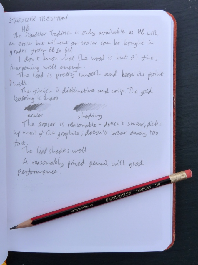 Staedtler Tradition pencil handwritten review