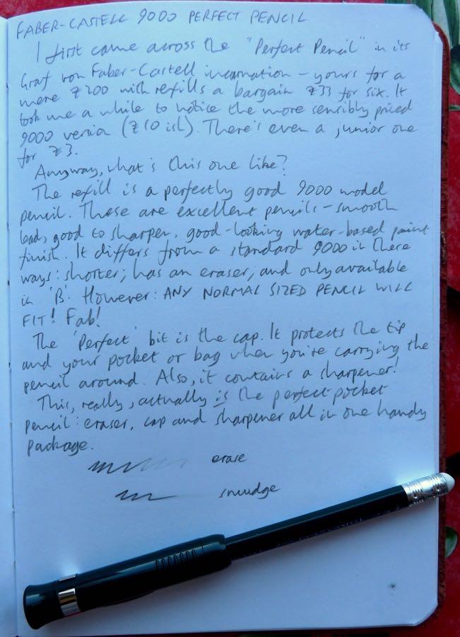 Faber-Castell 9000 Perfect Pencil handwritten review
