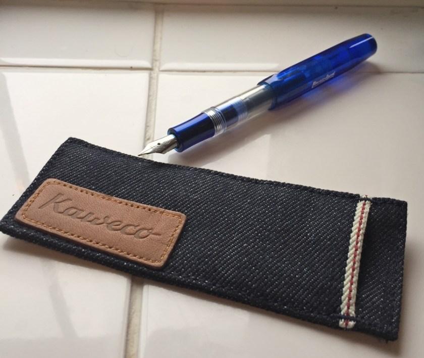 Kaweco Denim Pouch with pen ready to write