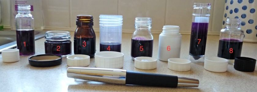 Ink bottles with ink in