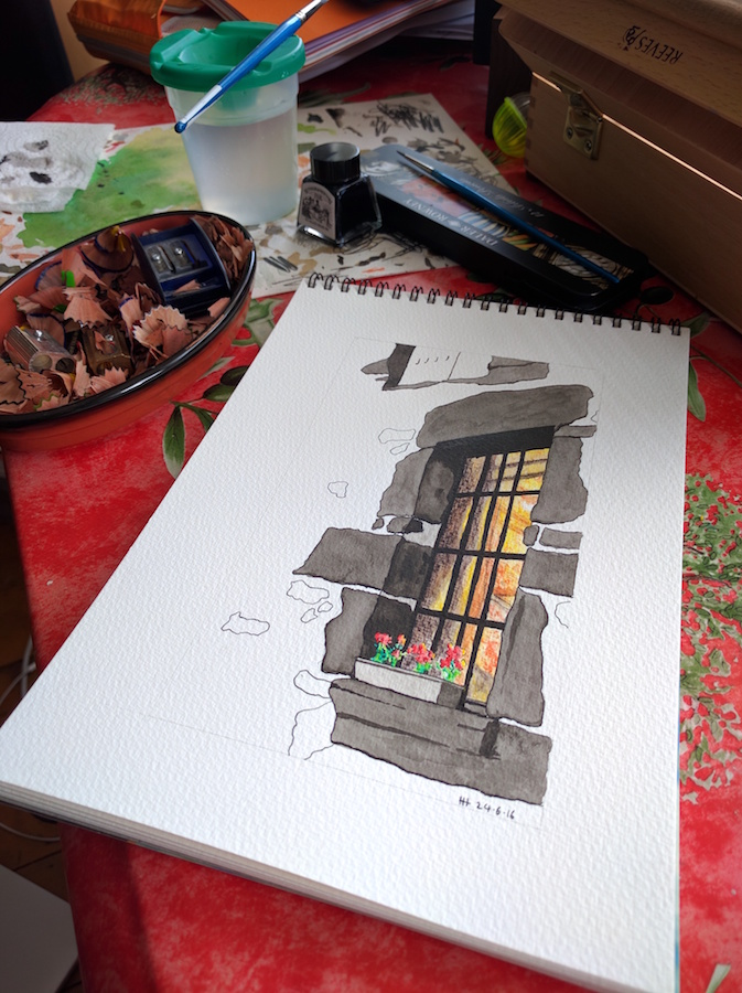 Bright window in Europe with pencil shavings