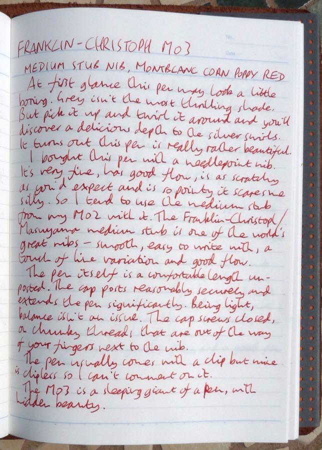 Franklin-Christoph M03 handwritten review