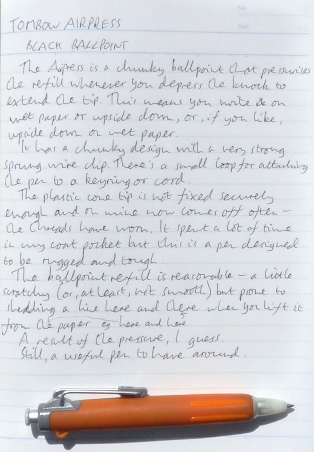 Tombow Airpress handwritten review