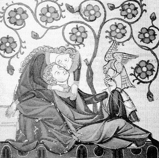 Afbeelding van een troubadour in de Manesse Codex. Universiteit van Heidelberg