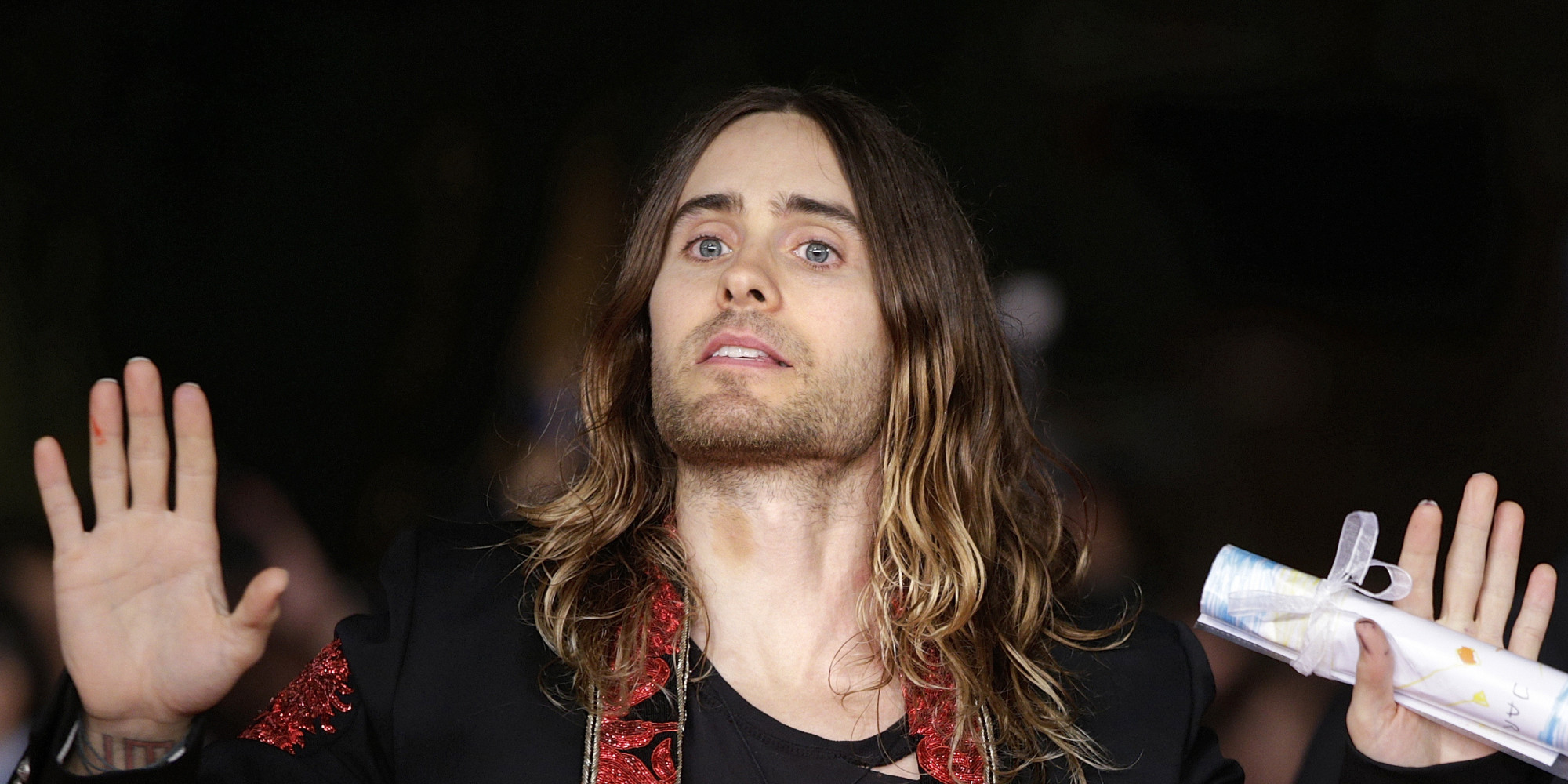 Composer and director Jared Leto arrives for the screening of the movie 'Dallas Buyers Club' at the 8th edition of the Rome International Film Festival in Rome, Saturday, Nov. 9, 2013. (AP Photo/Andrew Medichini)