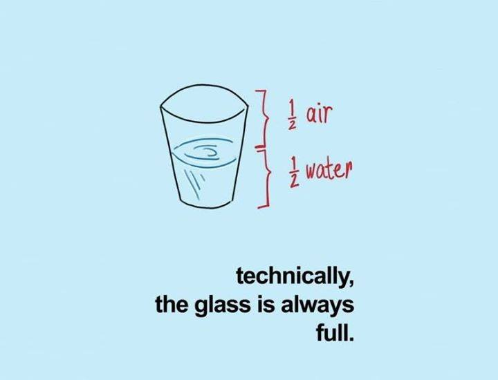 glass half full or empty pahar plin pe jumatate