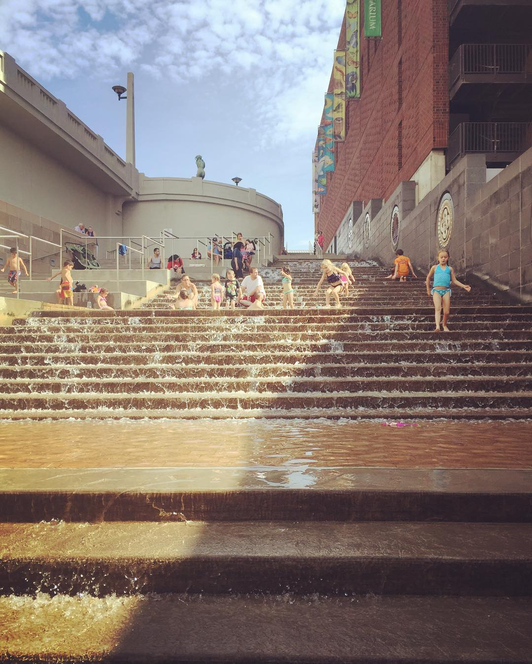 With out a doubt the most brilliant urban public art/water feature I've ever seen. 5 flights of waterfall stairs