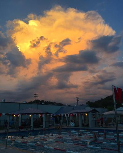 Moments before lightening in the distance cleared the pools
