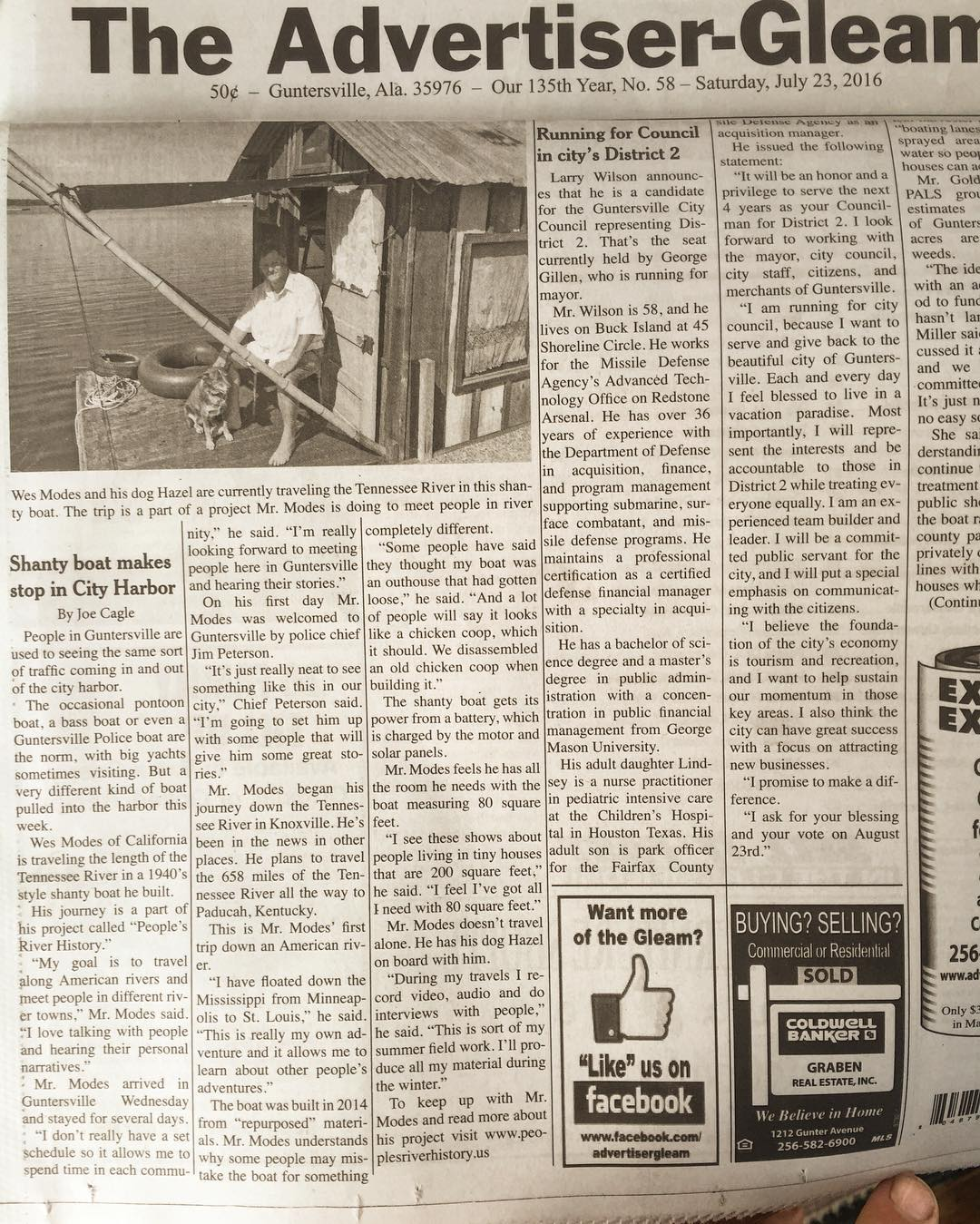 Secret History is front page in the Guntersville Gleam