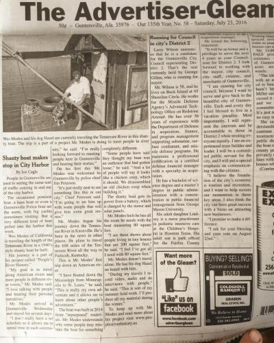 Secret History is front page in the Guntersville Gleam