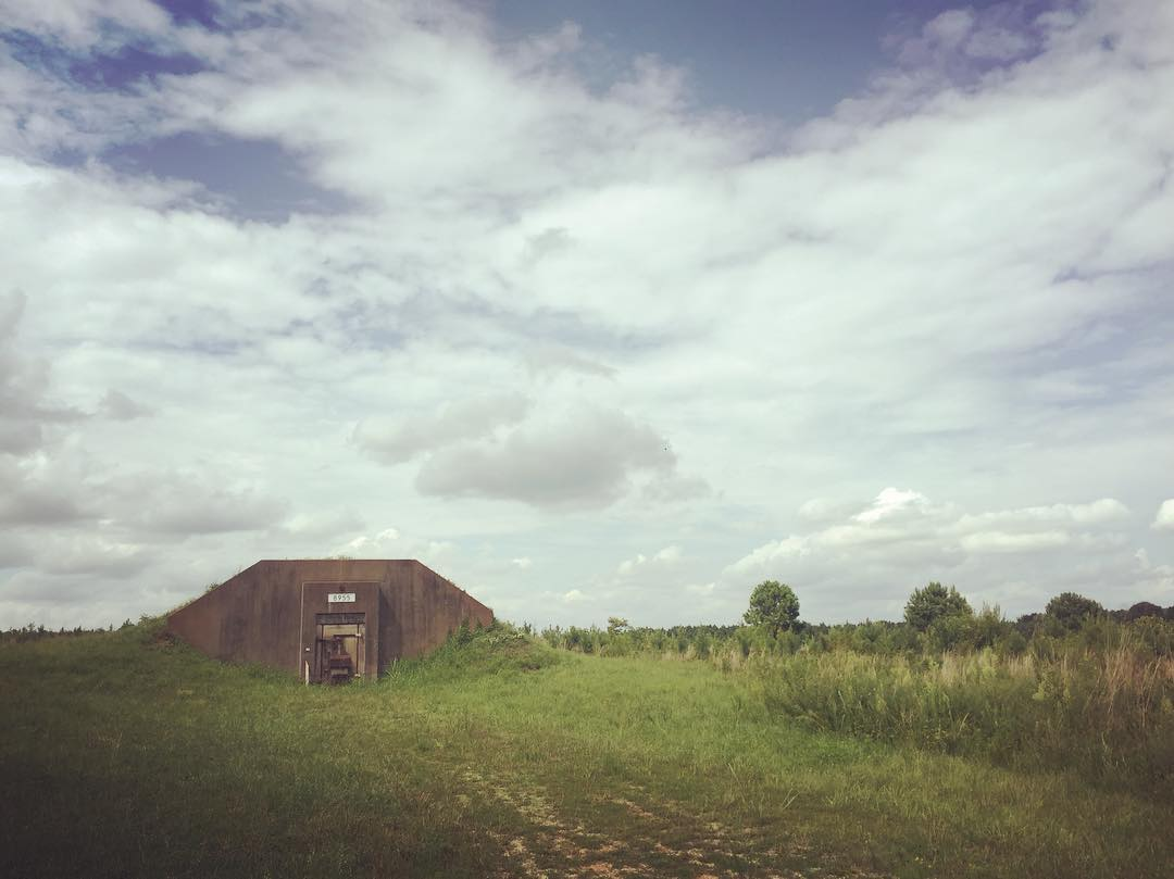 World War 2 ammunition bunkers and 50s Cold War fallout shelters on Redstone Arsenal