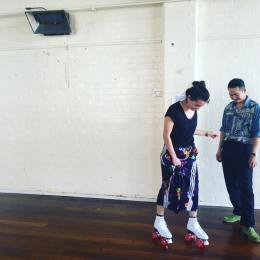 Eugyeene The and stage talent Catherine Davies, on roller skates. Credit: Little Ones Theatre Facebook page