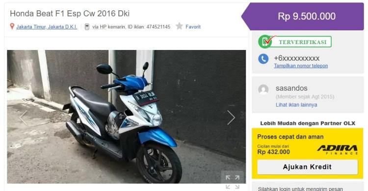 Harga Jual Kembali Sepeda Motor Honda Beat