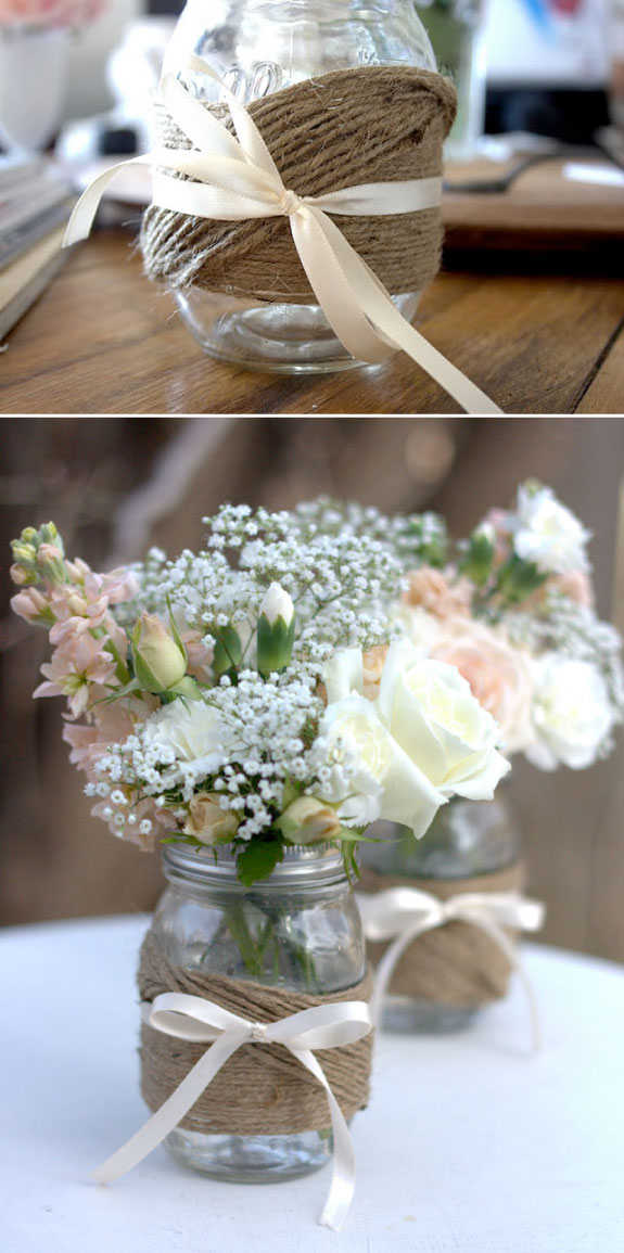 mason jar centerpieces from notes on a wedding