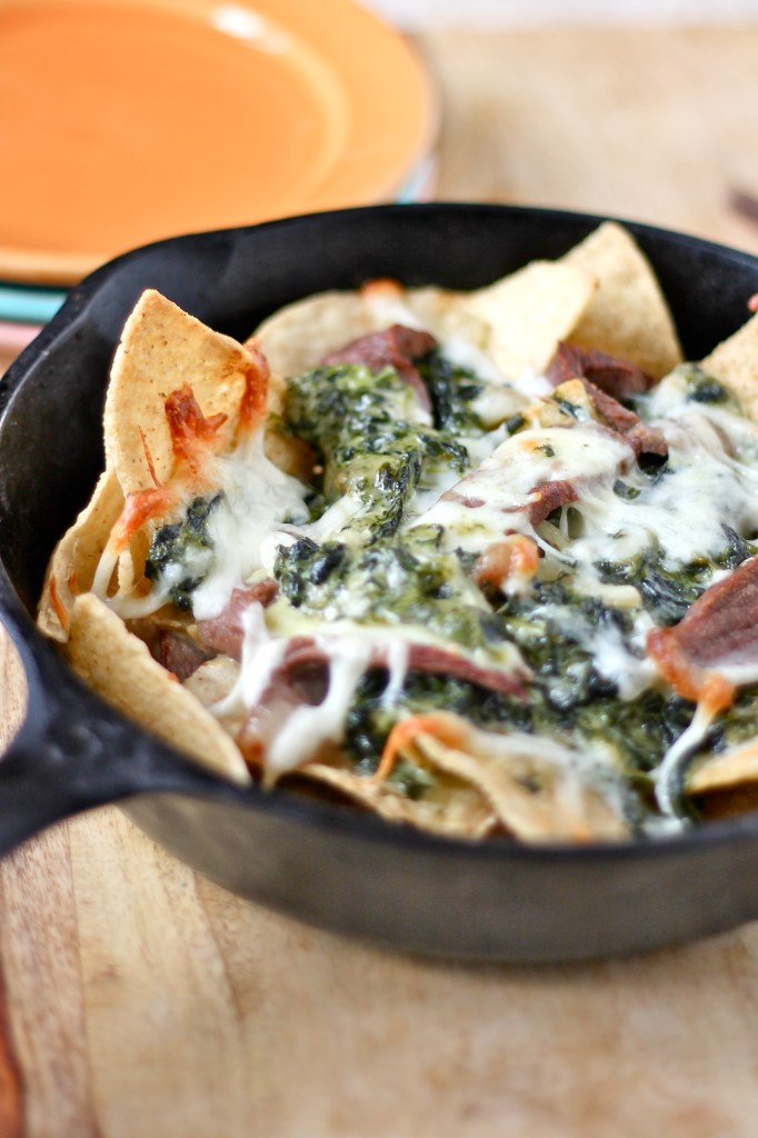 creamed spinach and steak nachos