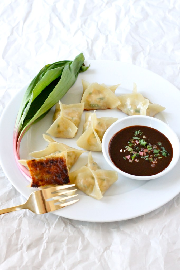 chicken and ramp potstickers