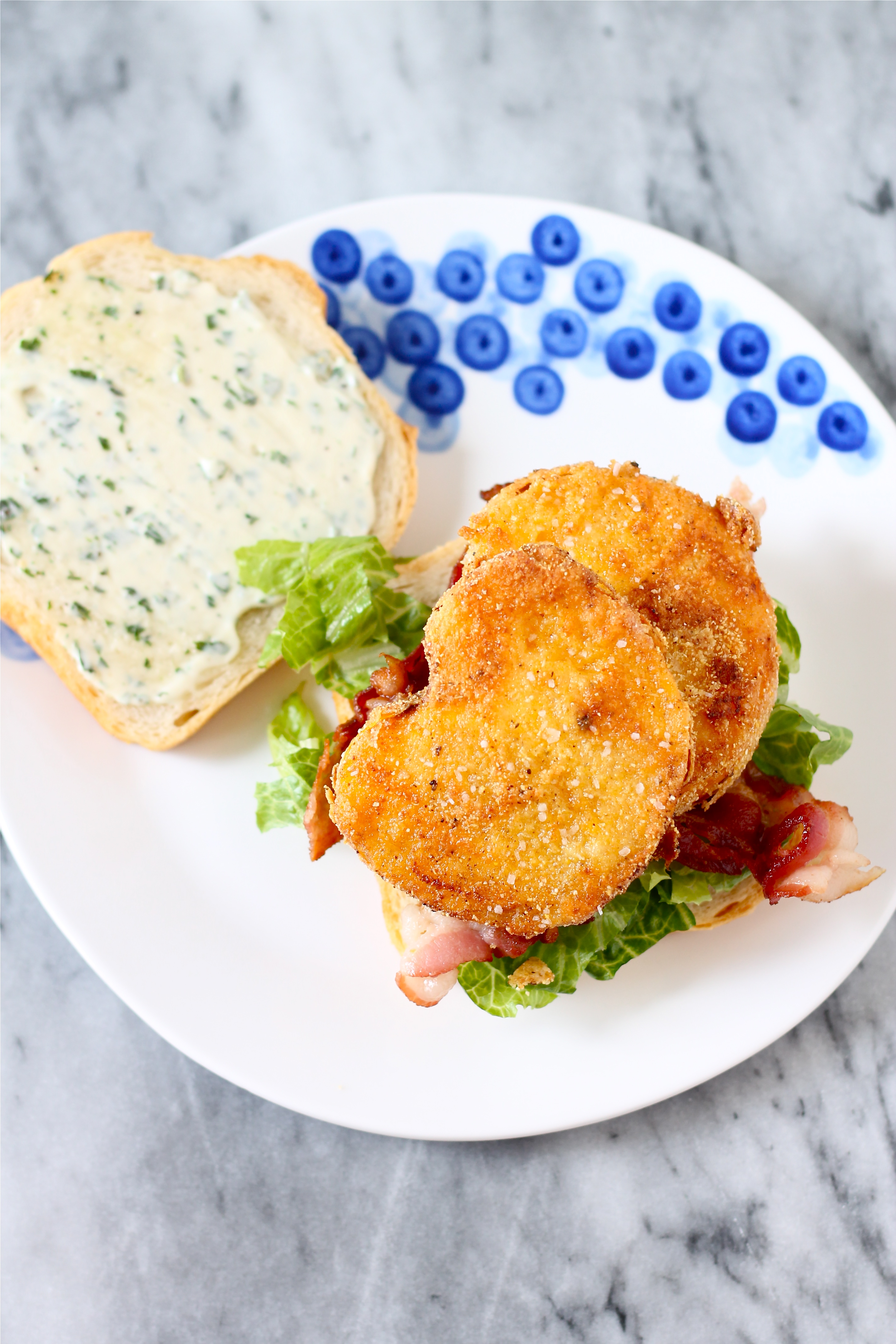 Bacon, Lettuce, and Fried Yellow Tomato Sandwiches with ...