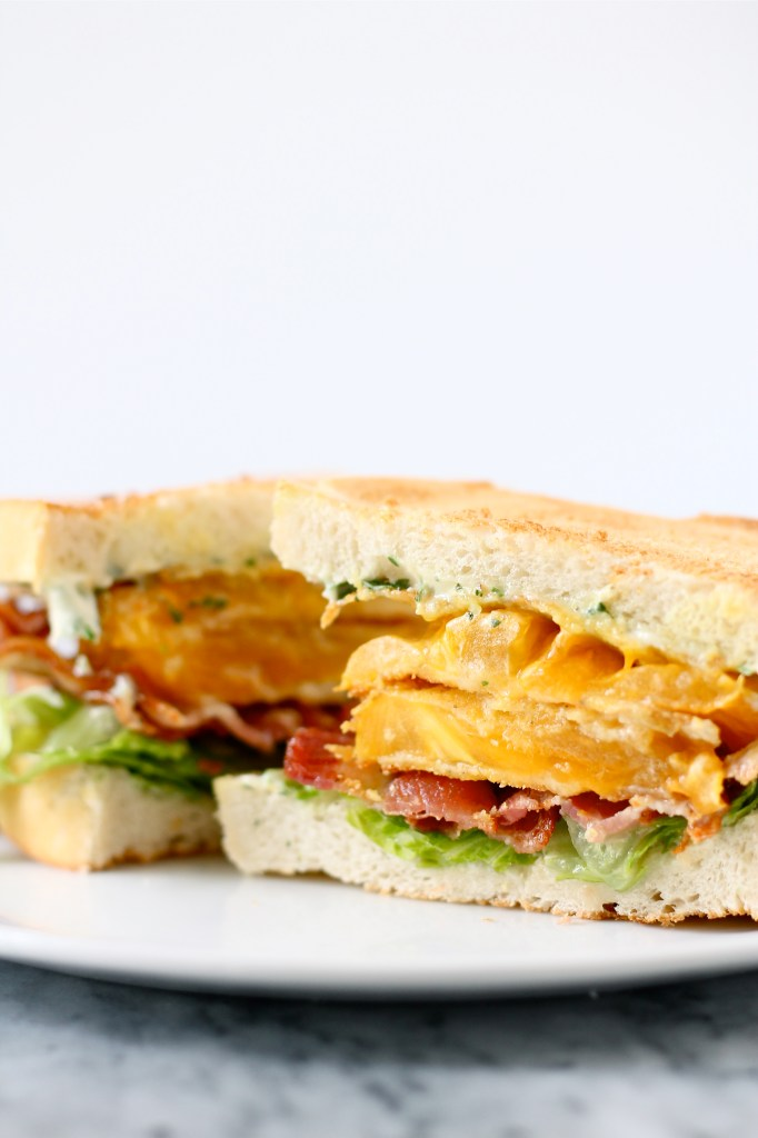 Bacon, Lettuce, and Fried Yellow Tomato Sandwiches with Basil Mayonnaise