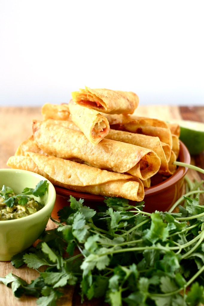 Shrimp Taquitos with Avocado Tomatillo Salsa