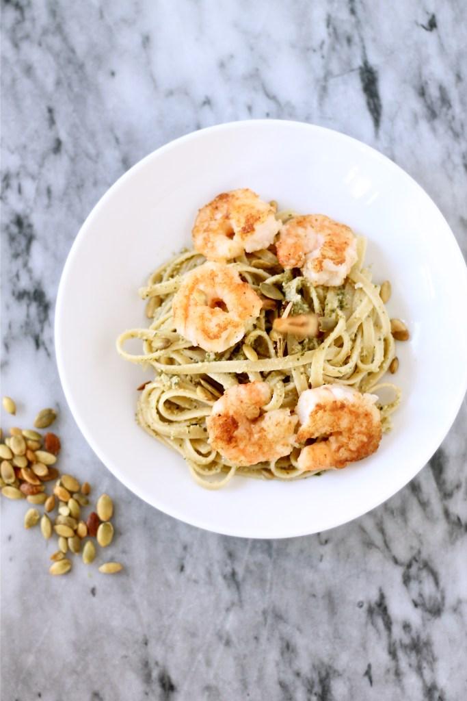 Pumpkin Seed Pesto Pasta with Crispy Shrimp