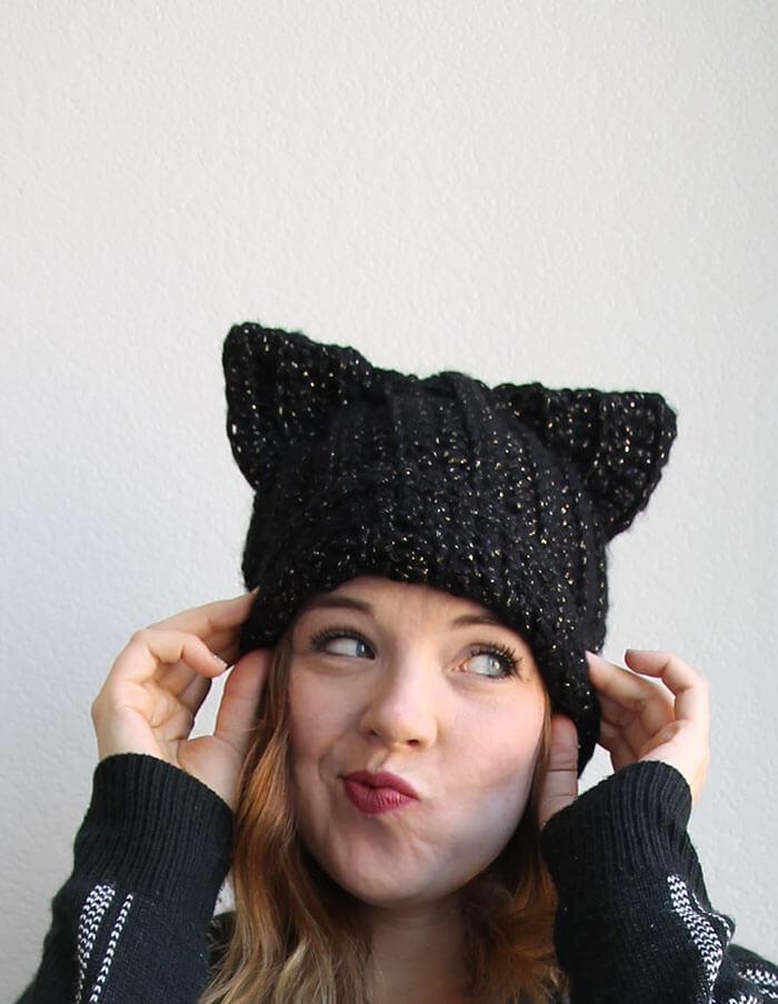 Black Cat Slouch Hat Free Crochet Pattern Rastercap Crochet