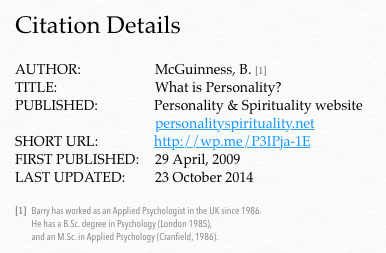 Citation Details - What is Personality
