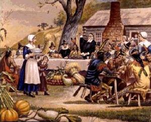 Pilgrims Indian First Thanksgiving