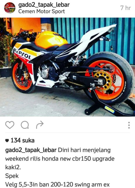Modifikasi Honda CBR150R 2016 Pakai Ban Ukuran 200 Swing Arm Yamaha R1 Upside Down