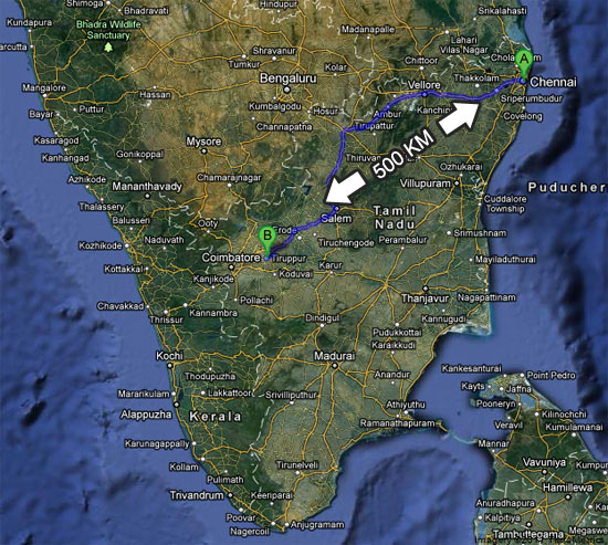 Map showing the distance from Chennai to Tiruppur
