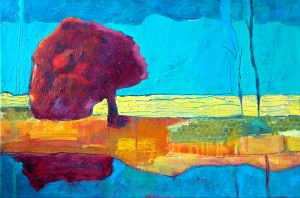 1. 'tree reflection'.series 3 2006  mixed media on canvas