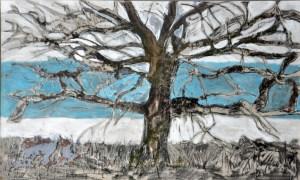 blue tree 2 mm resin canvas  70cm x100 2009