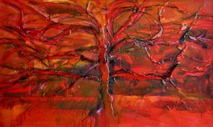 red tree 2- 70 x 100 cm mm resin canvas 2009