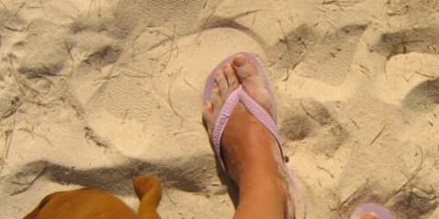 Les pieds dans le sable.