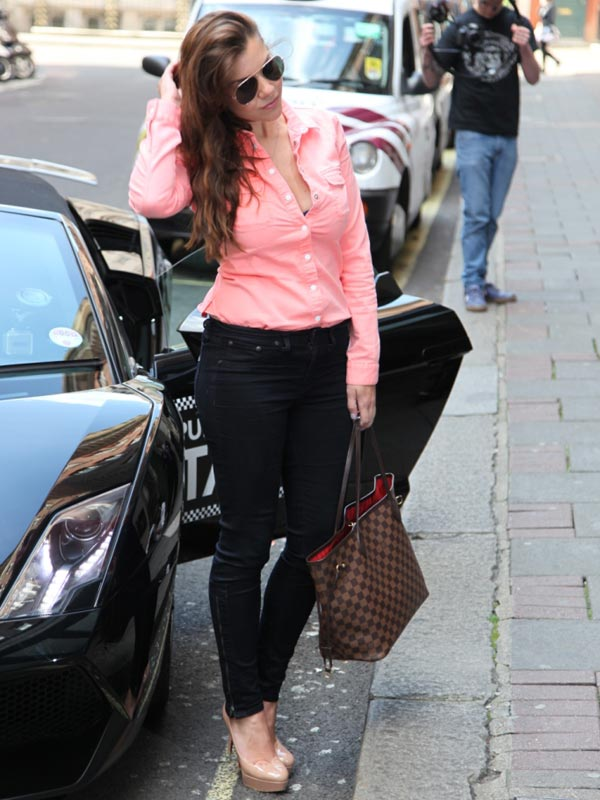 Imogen Thomas and a Lamborghini Taxi