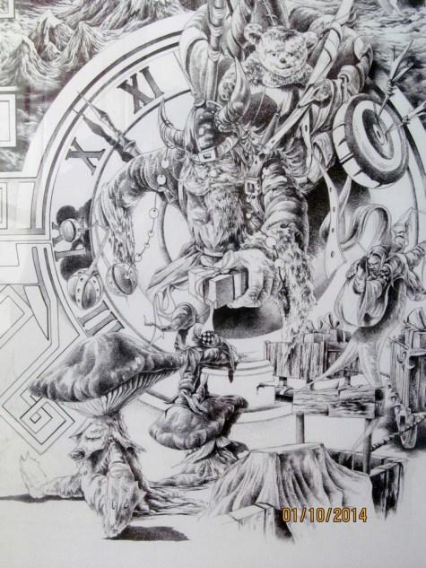 Illustration CHRISTMAS DAY encre de chine sur carton -point par point 50x70cm