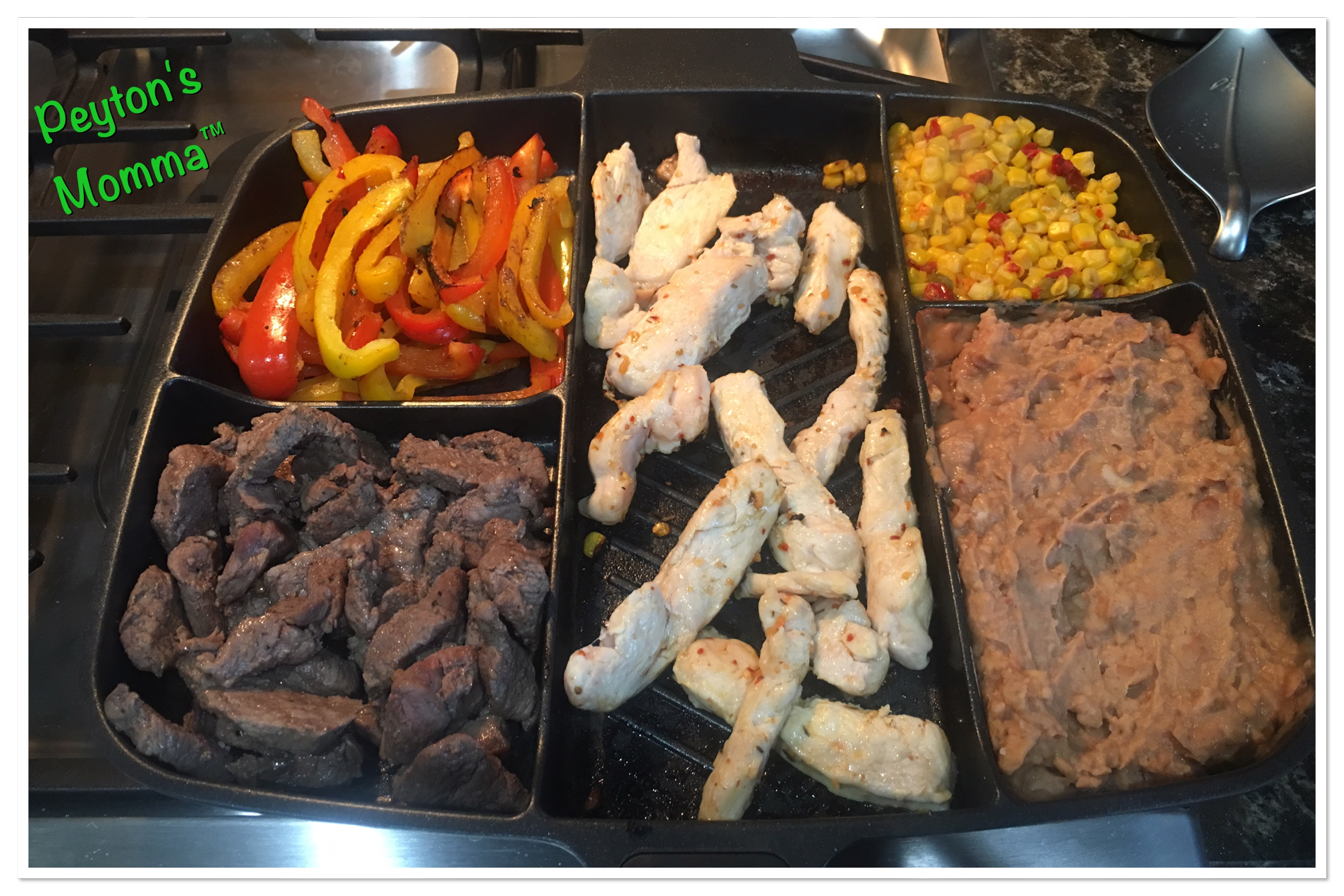 Chicken and Steak Fajitas in the MasterPan
