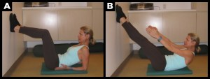 Woman exercising abs with fly up.