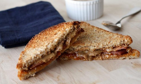 toasted almond butter & marmalade sandwich with turkey bacon