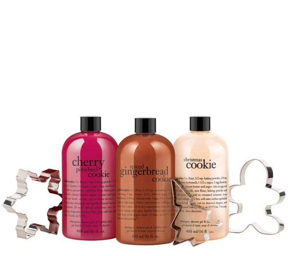 philosophy trio of cookies shower gel collection with cookie cutters