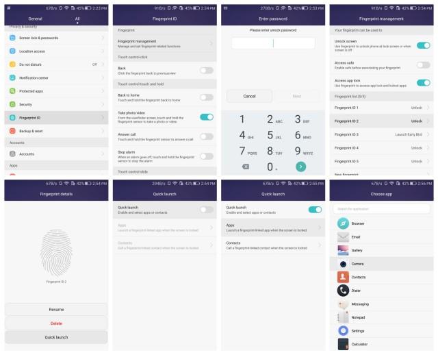 honor 5x fingerprint ID quick launch apps contacts