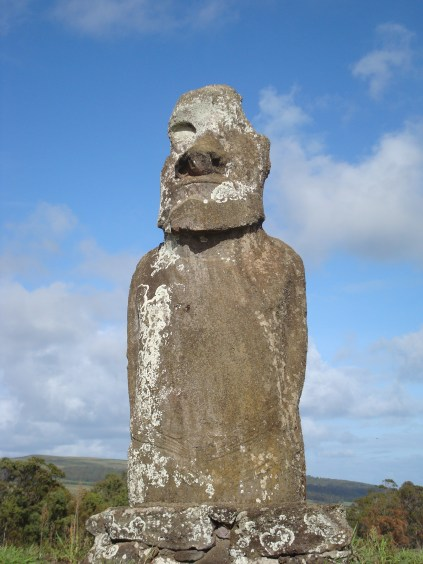 Maoi of Easter Island left alone in a field with no visitors