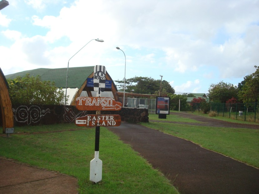 Easter Island sign at airport