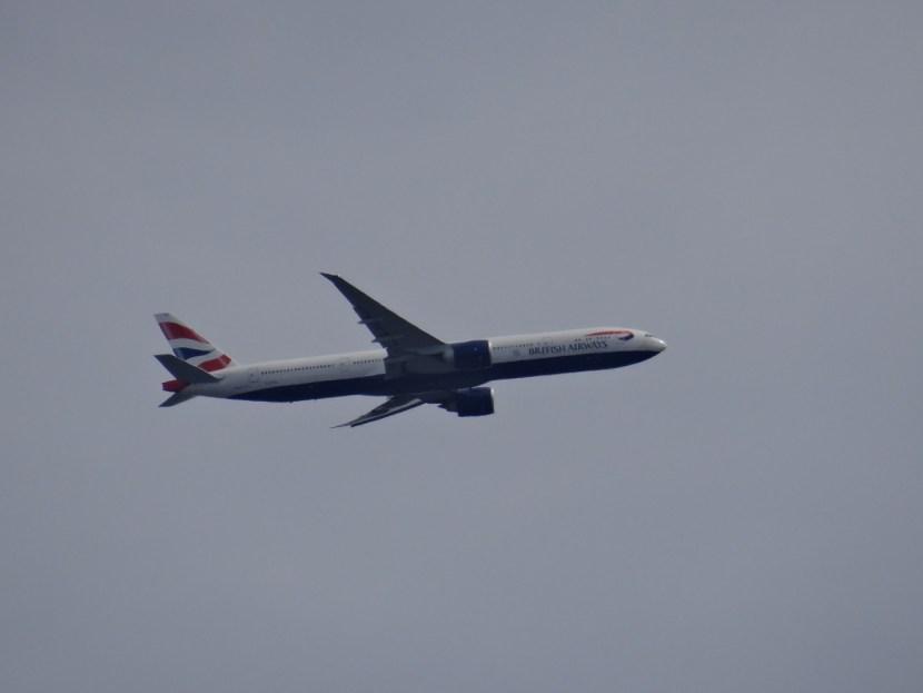 British Airways plane flying over London