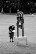 GB. England. Sculpture exhibition in Battersea Park, where for a moment a unity existed between exhibit and viewer. 1960.