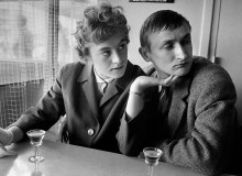 GB.ENGLAND. Social change in the 1960s had the positive effect of taking some pressure off men to behave always in a dominant manner. Here the girl was behaving like a man. 1961