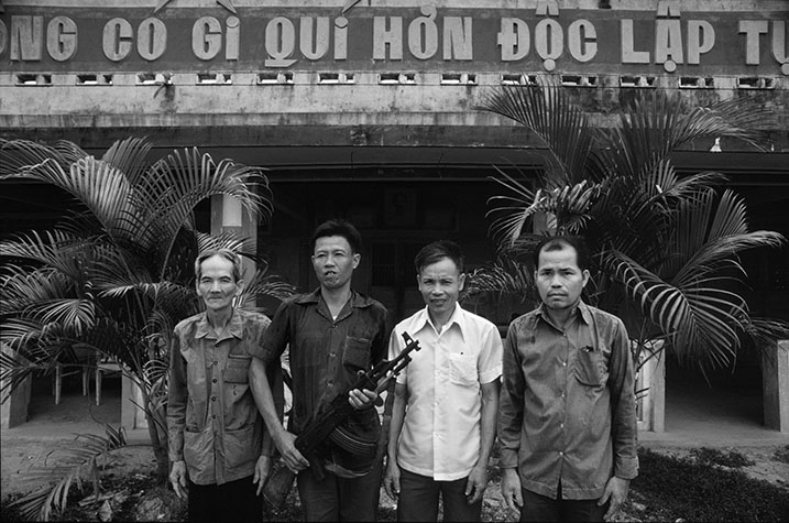 VIET NAM. The four men who fired the first shots in the Viet Nam war on the January 17th, 1960. (Left to right) Nguyen Van Thong, Le Van Kinh, Pham Van Giai and Nguyen Van Dung in Dinh Thuy hamlet, north of Mo Cay in the Mekong Delta. Their capture of a Diem military outpost is officially recognised as the start of the war.