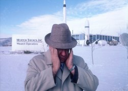 USA. Willard, Utah. 1988. Roger BOISJOLY, an aerospace engineer since 1960 and a 20-year veteran of NASA missions, outside the Morton Thiokol, Inc. facility.