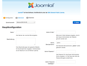Hauptkonfiguration in Joomla 3